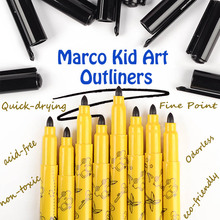 marco kid art outliners fine point black draw liners graffiti pen non-toxic odourless fineliners quick-drying liner art markers