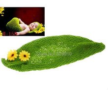 Knitted Green Pea Pod Photo Prop Crochet Flower Pattern Newborn Photography Props Toddler Baby Sweet Cocoon 1set H210