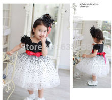 Promotion Price Baby Girls Kids Dresses Princess Summer Bow Dot Children Vestidos De Menina Dresses Drop Shipping