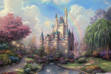 Canvas Poster cinderellas castle by thomas kinkade rainbow landscape painting YS23 Living Room home wall modern art decor(China)