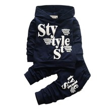 newSpring&Autumn Children's Clothing Kids Boy Suit Boys STYLE Letter Printed Long Sleeve Hooded Sweater+ Pants Outfit