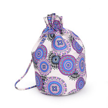 MANDALA Retro Canvas printing Accommodated Beam Port Cotton Bag Pouch Drawstring Gift Children's Love Candy Bag For Crochet tool