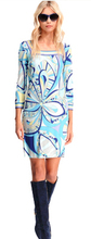 New 2015 Runway Designer Luxury Brands Women's 3/4 Sleeve Blue Geometric Printed Stretch Jersey Silk Plus Size XXL Dress