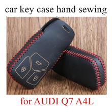 for AUDI Q7 A4L design by hand sewing leather car key case car Key Cover Car Styling best price(China)