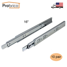 "Probrico 10 Pair 16"" Soft Close Ball Bearing Drawer Rail Heavy Duty Rear/Side Mount Kitchen Furniture Drawer Slide DSHH32-16A(China)"