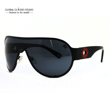 High Quality Classic Wrap Metal Sunglasses Unisex UV400 Integrate Lens Hollow Temple Visor White Black Crm32104 / 5