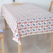 1Pcs Rural garden style Cotton and linen lace tablecloth Cartoon Horse Cat Rabbit table cloth Modern Fashion Tea tablecloth