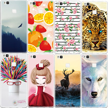Mobile Phone Case For Huawei Ascend P9 Lite P8 Lite Honor 8 5C Animals Girl Printed Pattern Soft TPU Back Cover Silicone Capa