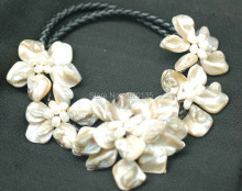 WOW!   freshwater pearl white champagne shell flower necklace 18inch nature  60mm gift baroque wholesale beads