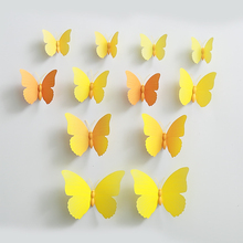 2set(24pcs.) Yellow Orange Sweet Home Wall Stickers DIY Home Decoration Removable 3D Wall PVC Butterfly Sticker Wall Art Decor(China)