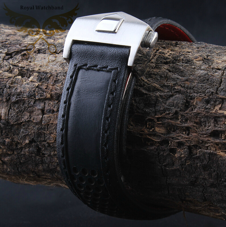 22mm Mens Black Genuine Leather Watch Strap Band Depolyment Watch Buckle Spring Bars<br>
