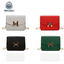 New Inho CHANCY michael  women's shoulder chain package pure color handbag messenger H word lock small square bag Crossbody bag