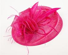 Sinamay Hat Fascinator Feather Flower Hair Clip Wedding Hats And Fascinators Bridal Hair Acessories Chapeu Casamento WIGO0512