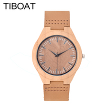 TIBOAT Fashion Top Gift Item Wood Watches Men's Analog Simple Bmaboo Hand Made Wrist Watch Male Quartz Watch Reloj de madera(China)