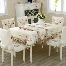 BZ319 European Luxury Tablecloth with Lace Edge Polyester Square Table Cover Embroidery Flowers Wedding Home Party Table Decorat(China)