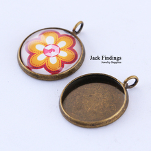 20pcs 16mm Antique Bronze Brass Cabochon Base Cameo Setting Copper High Quality 2015 New(China)