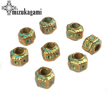 10pcs/lot 8*10MM Retro Zinc Alloy Green Round Big Hole Polygon Interval Beads For DIY Bracelet Jewelry Accessories(China)