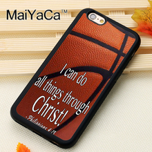 Basketball Theme Bible Verse Printed Soft Rubber Skin Phone Cases Accessories For iPhone 6 6S Plus 7 7 plus SE 5 5S 5C 4S Cover