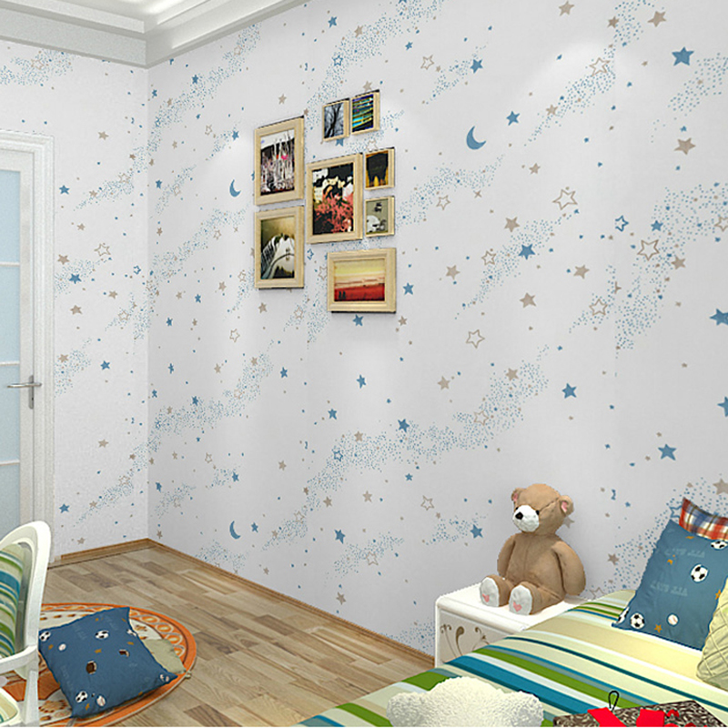 Luminous Stars Moon Children Room Bedroom Decor Wallpaper PVC Modern Fashion 3D Star Sky Fluorescent Wallpaper For Walls Roll<br>