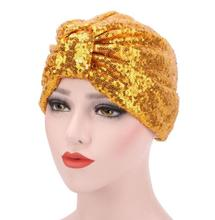 1pcs ON SALE Women Sequined turban Hijab Pre Tied Bandana Cap Chemo Head Scarf Hair Cover Sleeping Hat Ladies Turban(China)
