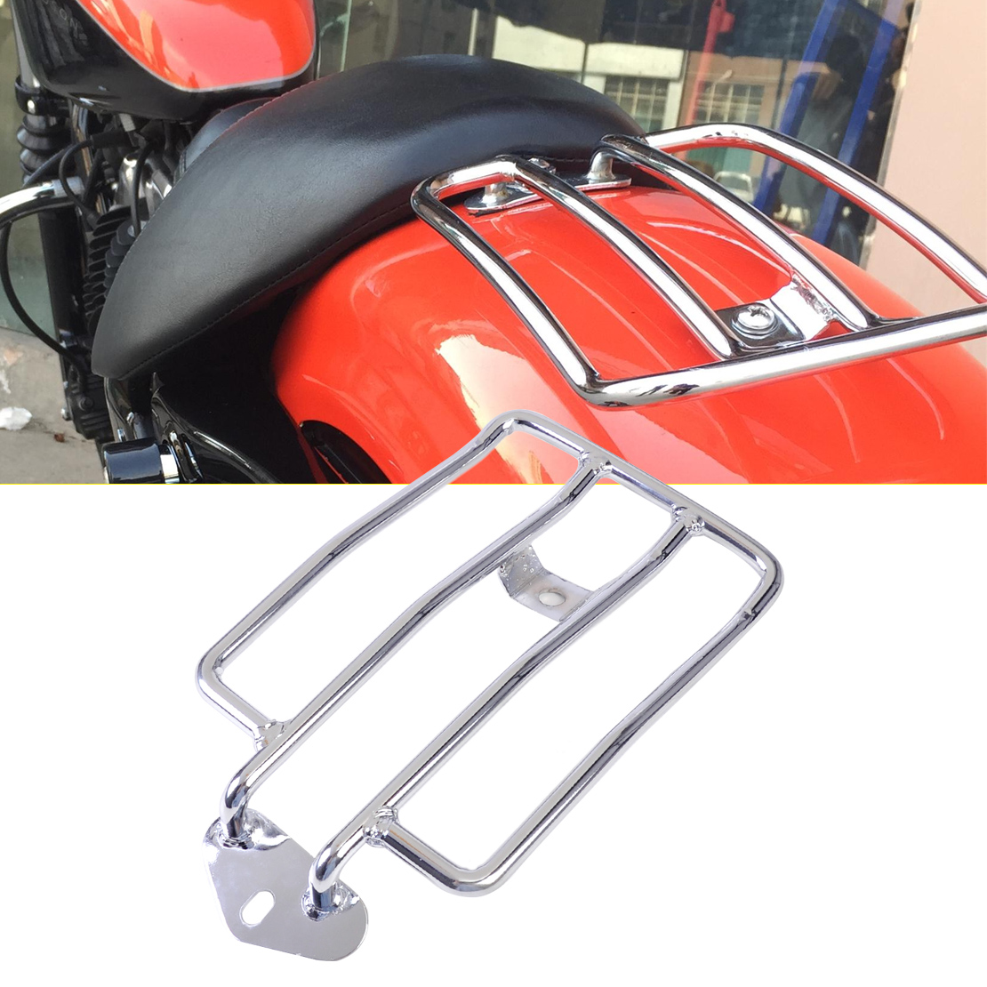 DWCX Motorcycle Silver Seat Luggage Shelf Carrier Support Rack for Harley Sportster 1200 883 with stock solo seat<br>