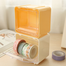 Free shipping Multifunctional transparent paper tape storage box desktop box office stationery storage tool washi tape dispenser(China)