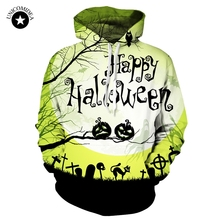Men's Long Sleeve Hoodies Ghost/black Cat/Cross/Happy Halloween Printed Sweat Shirts Hooded Male Outerwear(China)