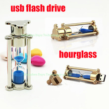 Full capacity usb flash drive 8gb metal Hourglass flash drive 4gb pendrives 32gb usb stick 64gb Romantic time office gifts flash
