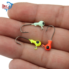 Multicolour Fishing Jigs 100pcs Lot Fishing Hooks Saltwater Freshwater Fish Round Lead Hook Jig Heads 1g, Red/Yellow/Luminous