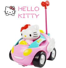 Baby Boys Girl Electric Toys Car Remote Control Car Kids RC Car Cartoon Cute KT Cat Musical Light Up Children Race Car Toy(China)