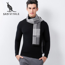 Scarves men's Scarf Fashion Cotton High Quality Wool Designer Casual Clothing Accessories Apparel Winter Warm Cashmere for men(China)