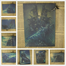 Vintage World of War.craft WOW Arthas Menethil The Lich King Game Poster Retro Kraft Paper Bar Home Decor Wall Sticker 42x30cm(China)