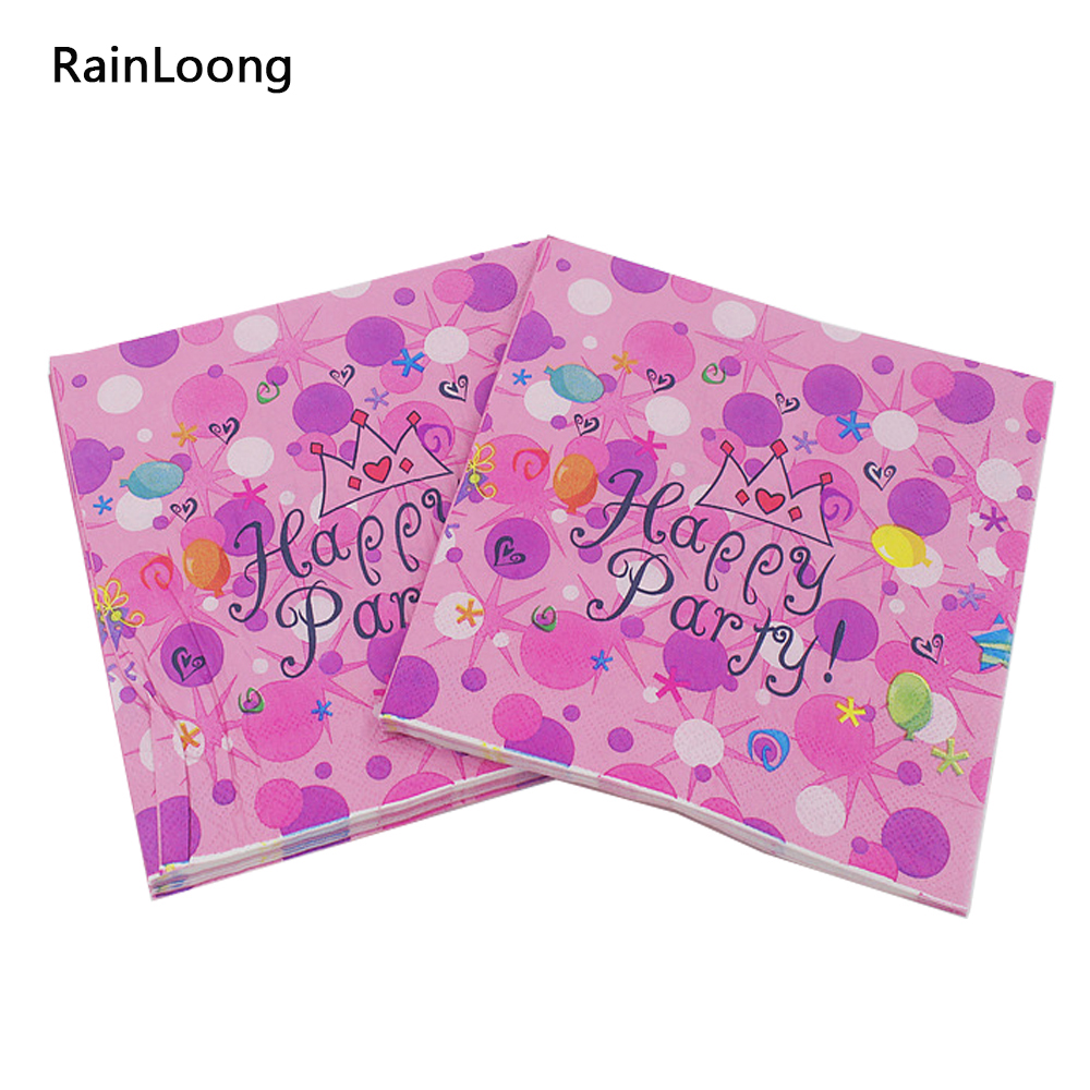 [Rainloong] день рождения бумажная салфетка праздничный и партия ткани салфетки Декупажные украшения бумаги 33 см 33 см 20 шт./упак./лот(China (Mainland))