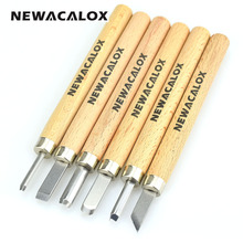 NEWACALOX 6pcs Woodcut Knife Scorper Hand Cutter Wood Carving Tools Woodworking Chisel Graver Burin for Arts Crafts DIY Tools