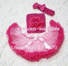 Light Hot Pink Baby Pettiskirt, Hot Pink Peony Hot Pink Crochet Tube Top, Hot Pink Bow Headband 3PC Set MACT119
