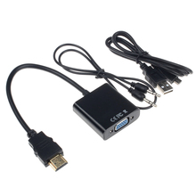 MAHA 1080P HDMI to VGA With Audio Converter Adapter USB Power Video Cable Black(China)