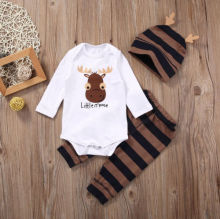 Baby Boys Clothing Sets Xmas Little moose Newborn Baby Boy Girls Clothes Long Sleeve Romper Jumpsuit Long Pants +hat Outfits(China (Mainland))