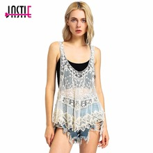 Jastie Vintage Sweet Cute Casual Crochet Knit Floral Hollow Out Lace Vest Slim Bohemia Tops Blouse Handmade Beige Beach Cover Up(China)