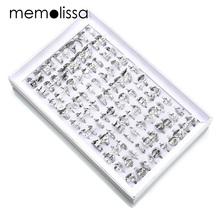MeMolissa 100pcs/Box 316l Stainless Steel Rings Hollow Mix Style + Mix Size Randon Cross Life Tree Constella Tail Ring for women(China)