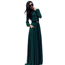 Autumn Women Long Maxi Dresses Long Sleeve Slim Floor-length Gown Evening Party Wear