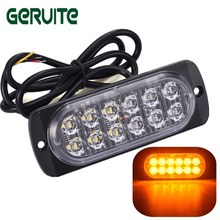 LED High Power Ultra-thin 12W Waterproof Police Lights 12V-24V 12 LED Car Truck Emergency Side Strobe Warning Light Car-styling(China)