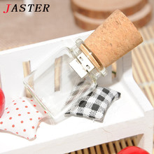 JASTER LOGO customer Glass drift bottle with Cork USB Flash Drive (Transparent) 4GB 8GB 16GB 32GB special gift for lovers