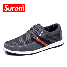 SUROM Men's Shoes Casual Hot Sale Summer Mesh Comfortable Tenis Sneakers Lace up Flat Boat Shoes Men Krasovki Round Toe Loafers(China)