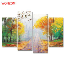 4Pcs Quiet Country Road Canvas Painting Abstract Tree Painting On Canvas Cuadros Abstractos 2017 Wall Picture For Home Decor New