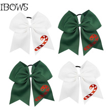 Custom Grosgrain Hair Bow With Tails Christmas Ribbon Cheer bow Cheerleader Gift For Girls(China)