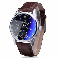 Top selling Relojes Hombre Luxury Fashion Black Brown Casual Faux Leather Mens Blue Ray Glass Quartz Analog Watches Wholesale(China)