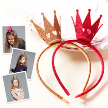 New Fahion Felt Tiara Valentine Heart Carved Crown Girls Headbands Gold Silver Rose Glitter Hairbands Kids Party Headwear(China)