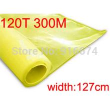Free shipping 1 meter 120T 300M yellow color polyester silk screen printing mesh 120T 127CM width(China)