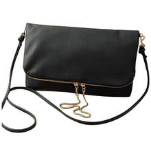Sling Fold Crossbody Bags Women's Messenger bags Shoulder bags Small Hinge Drop Chain Black(China)