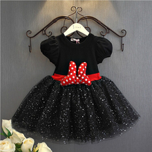 2017 Cotton Lace Tutu Girls' Dress Casual Minnie Bow Summer Party Dress for Girls Sequins Ceremonies Dresses Children Clothes